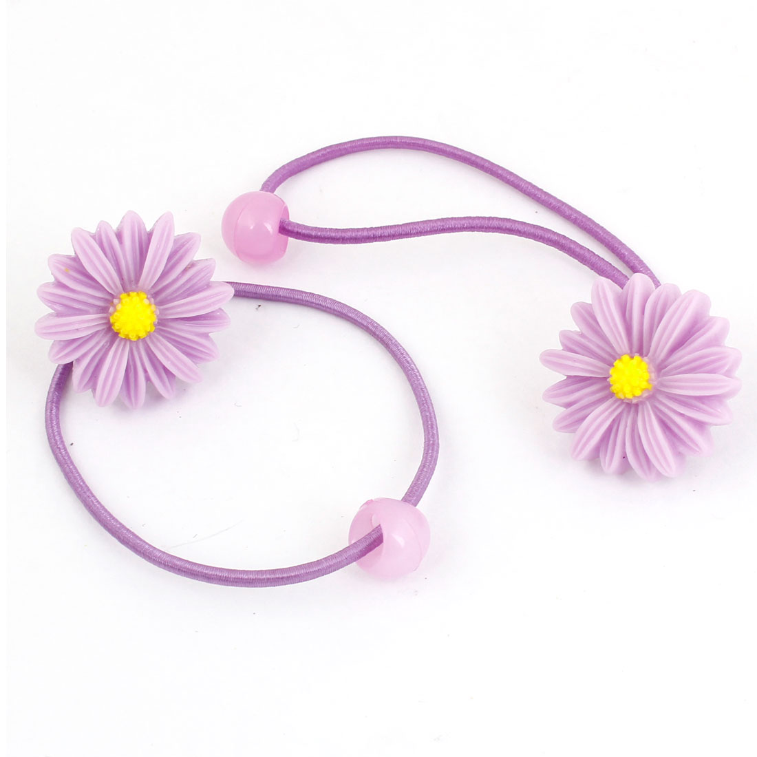Lady Yellow Purple Flower Daisy Decor Elastic Hair Tie Band Ponytail Holder 2pcs