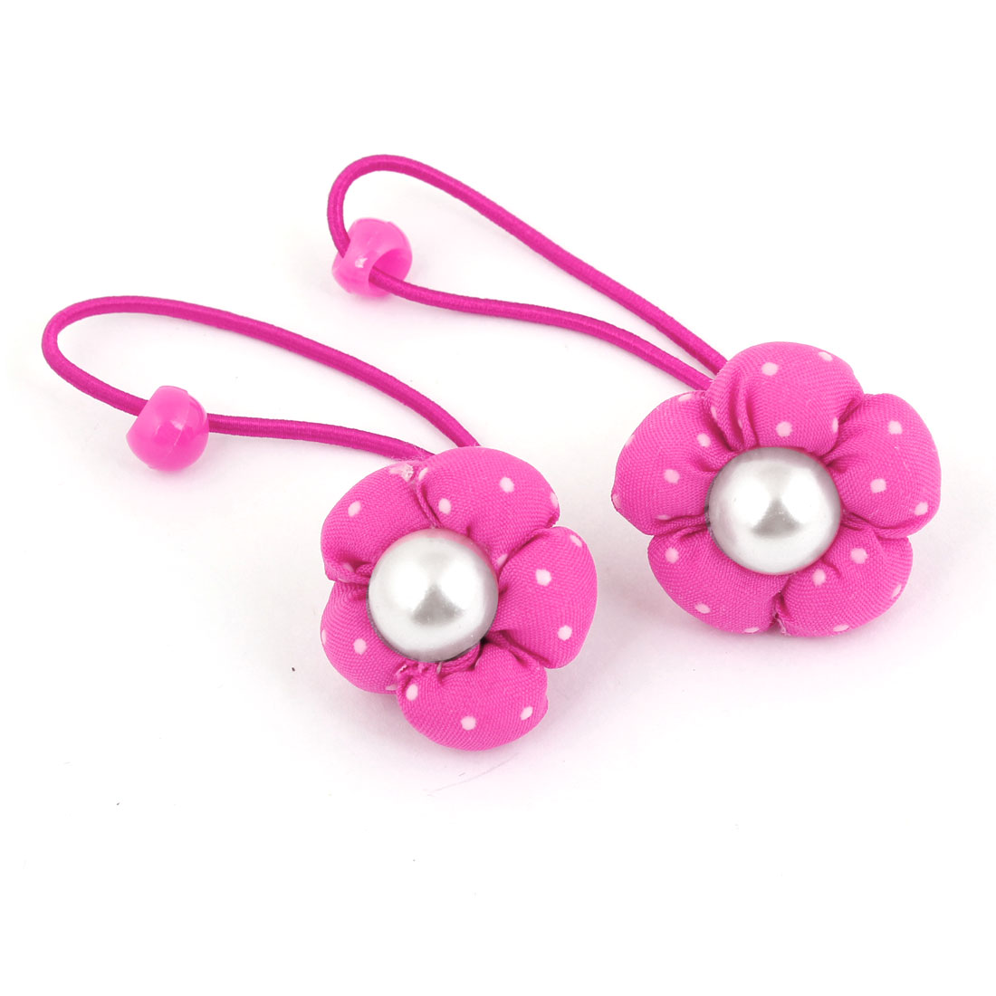 2PCS Fuchsia Floral Imitation Pearl Decor Stretchy Hair Band Ponytail Holder for Lady