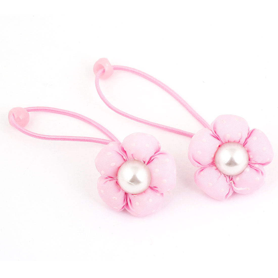 2PCS Pink Flower Faux Pearl Accent Stretch Hair Tie Ponytail Braid Holder