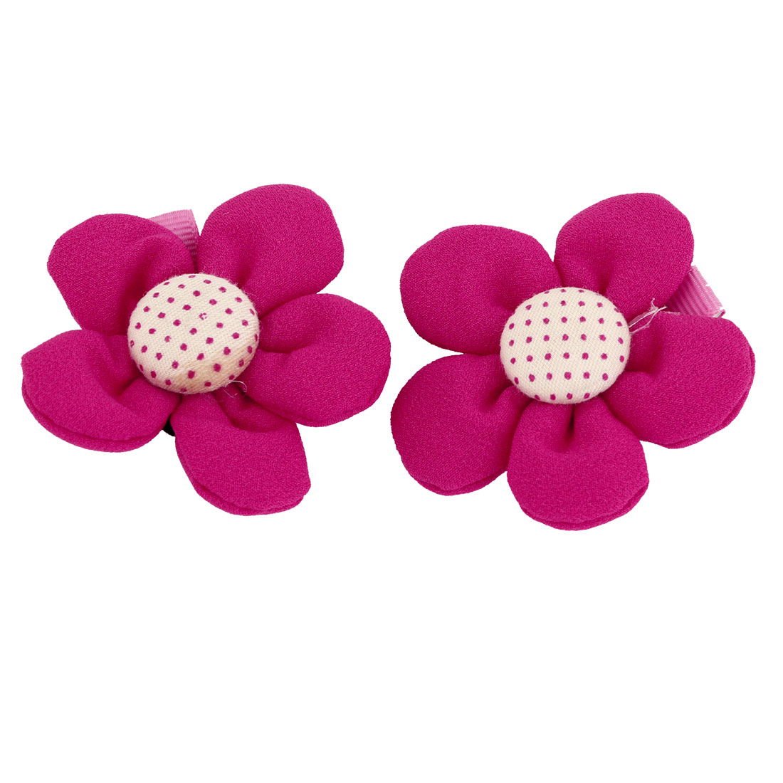 Girls Lady Fuchsia Floral Design Decoration Nylon Coated Metal Hair Clips 2 Pcs