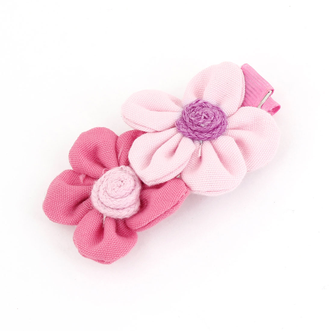 Pink Fuchsia Dual Sunflower Decor Nylon Covered Metal Hair Clip for Girls