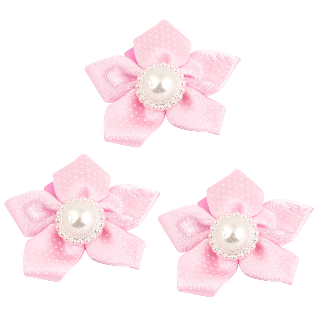 3PCS Faux Pearl Decor Pink Sunflower Shaped Metal Hair Clips for Girls Lady