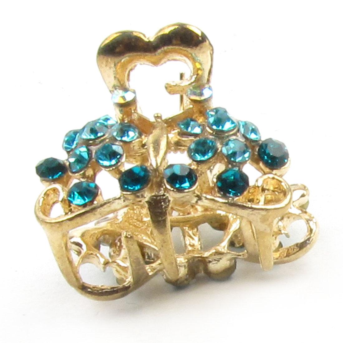 Glitter Rhinestone Detail Mini Teal Blue Gold Tone Hair Clip Claw Gift