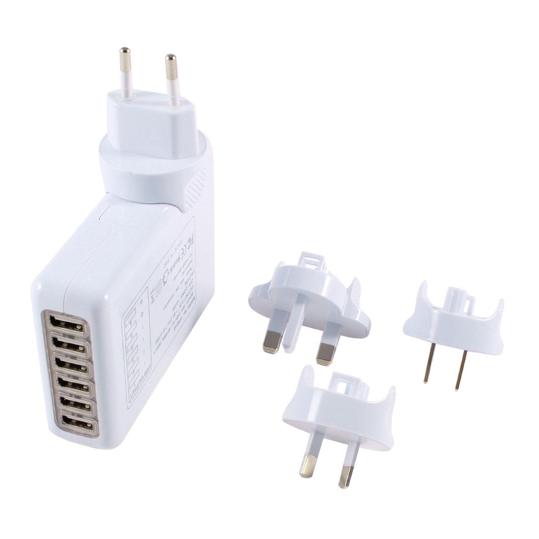 6 Ports USB Hub Home Wall Adapter UK AU EU US Travel AC Charger White