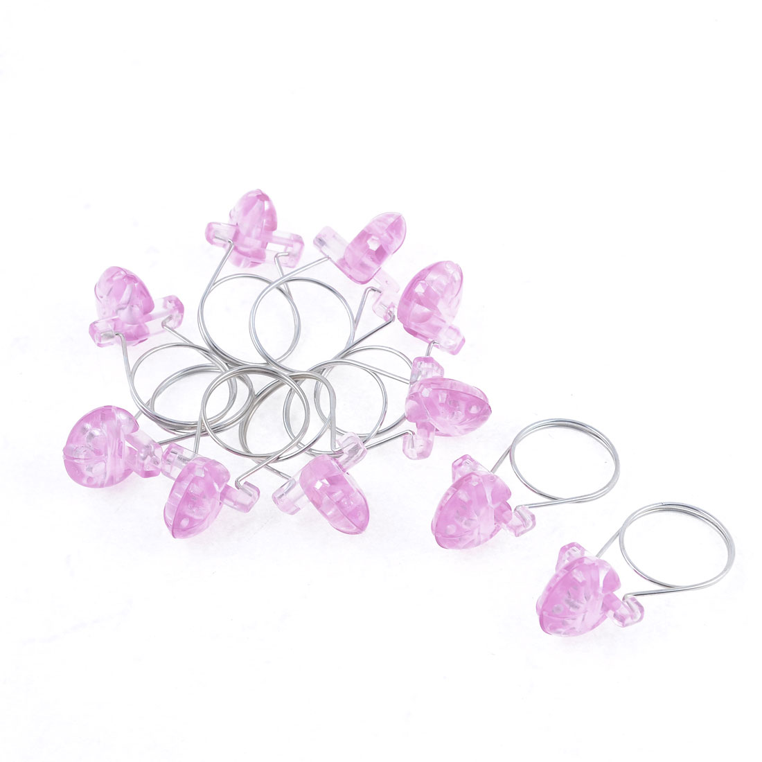 Clear Pink Plastic Toothed Curtain Hanging Ring Clips Rod Mounting Clamps 10 Pcs