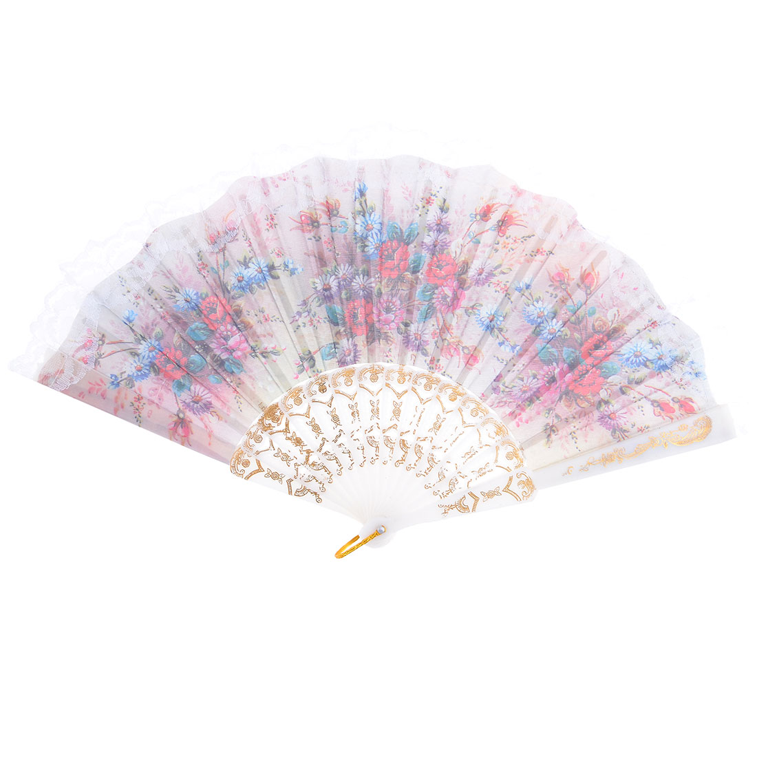 Lady Plastic Frame Lace Rim Colorful Foldable Hand Dance Fan w Metal Loop