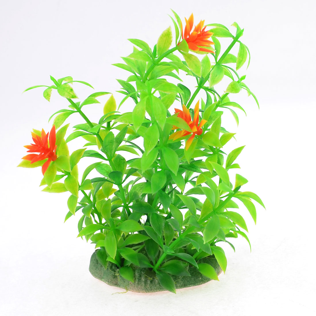 Plastic Aquatic Green Grass Orange Red Flower Plant Aquarium Simulation Decor