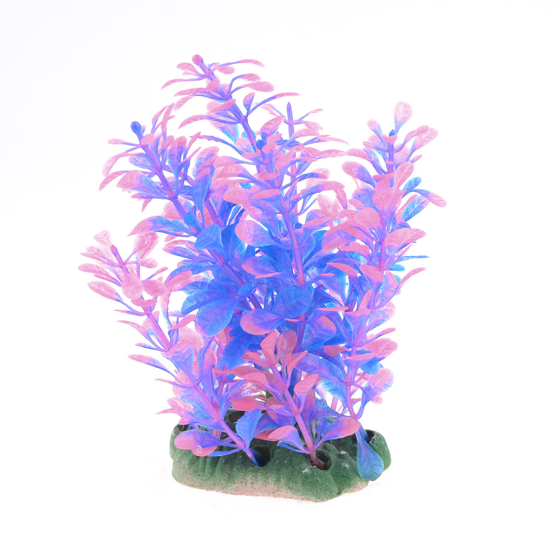 Fish Tank Aquatic Ceramic Base Plant Grass Underwater Decor Pink Blue 11cm