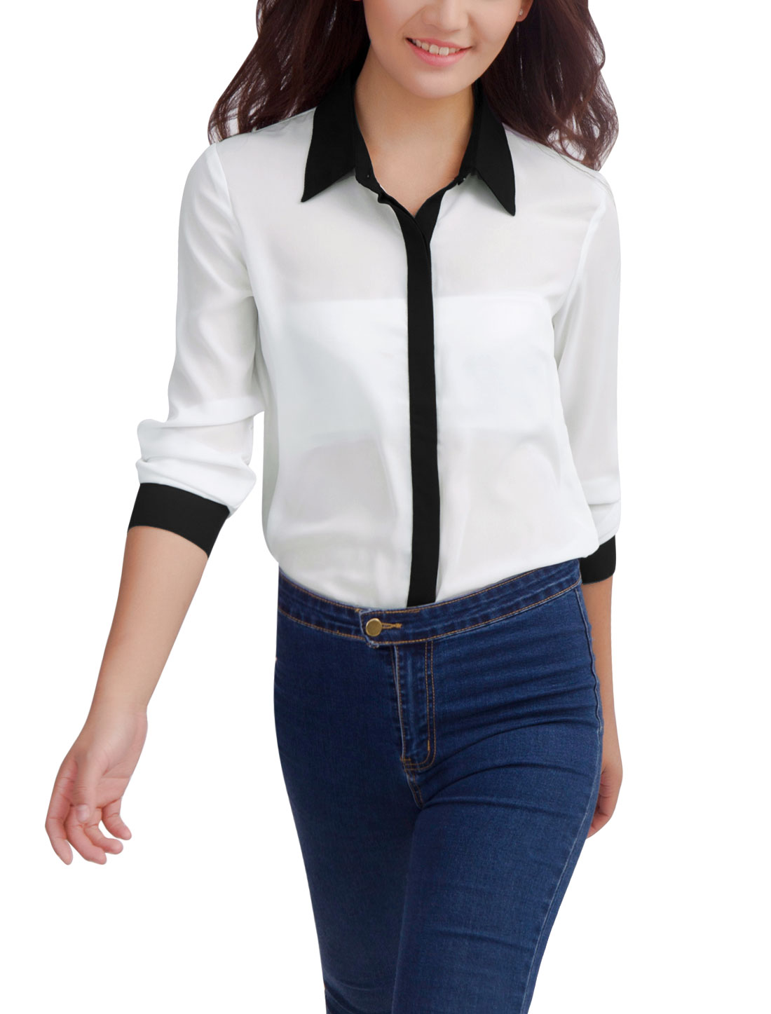 Women Chic Contrast Color Design Hidden Button Front White Blouse L