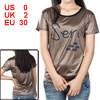 Ladies Short Sleeve Black Letters Print Coffee Color T-Shirt XS