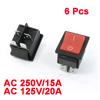 15A/250VAC 20A/125VAC 4 Pin ON/OFF DPST Rocker Switch 6 Pcs