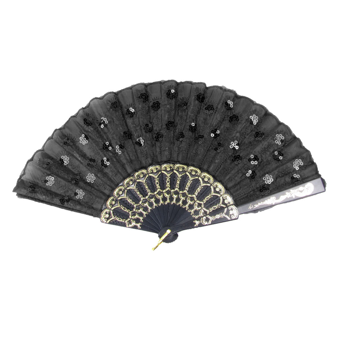 Embroidery Flowers Pattern Plastic Frame Folding Fan Black Gold Tone