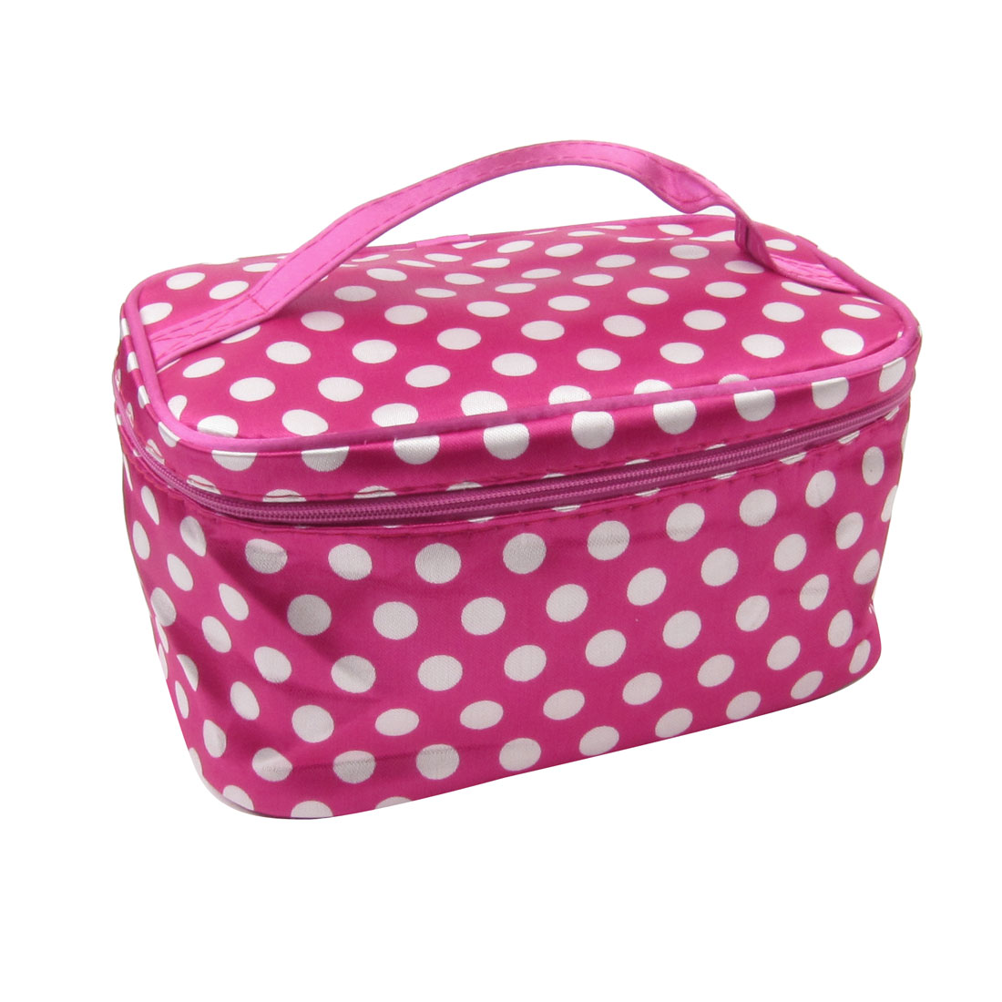 Dots Print Fuchsia Polyester Cosmetic Bag Pouch for Ladies