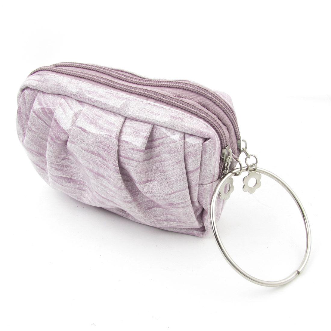 Women Wood Print Pale Purple Faux Leather 2 Compartment Keys Money Holder Purse