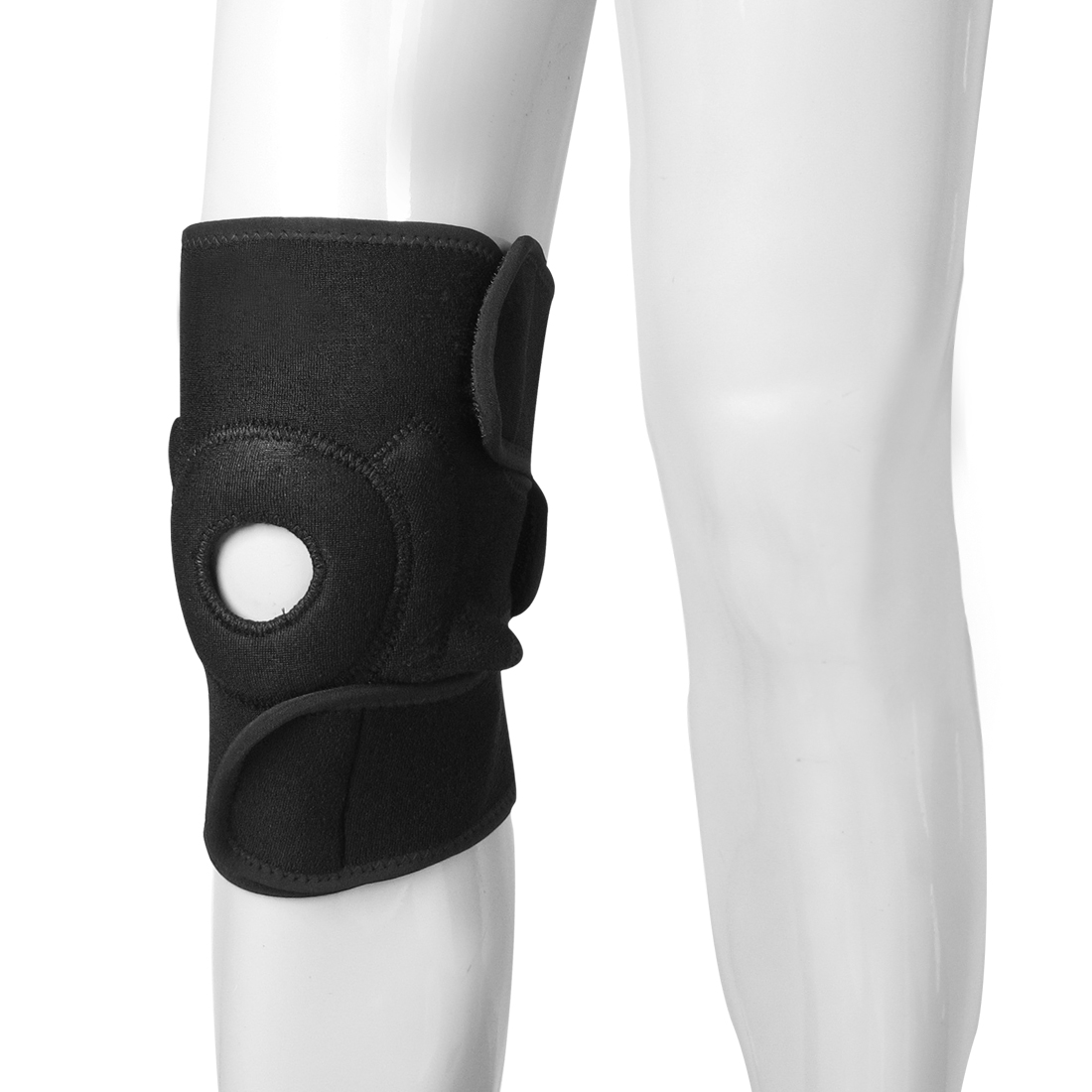 Sports Black Neoprene Elastic Hook and Loop Fastener Closure Knee Support Brace