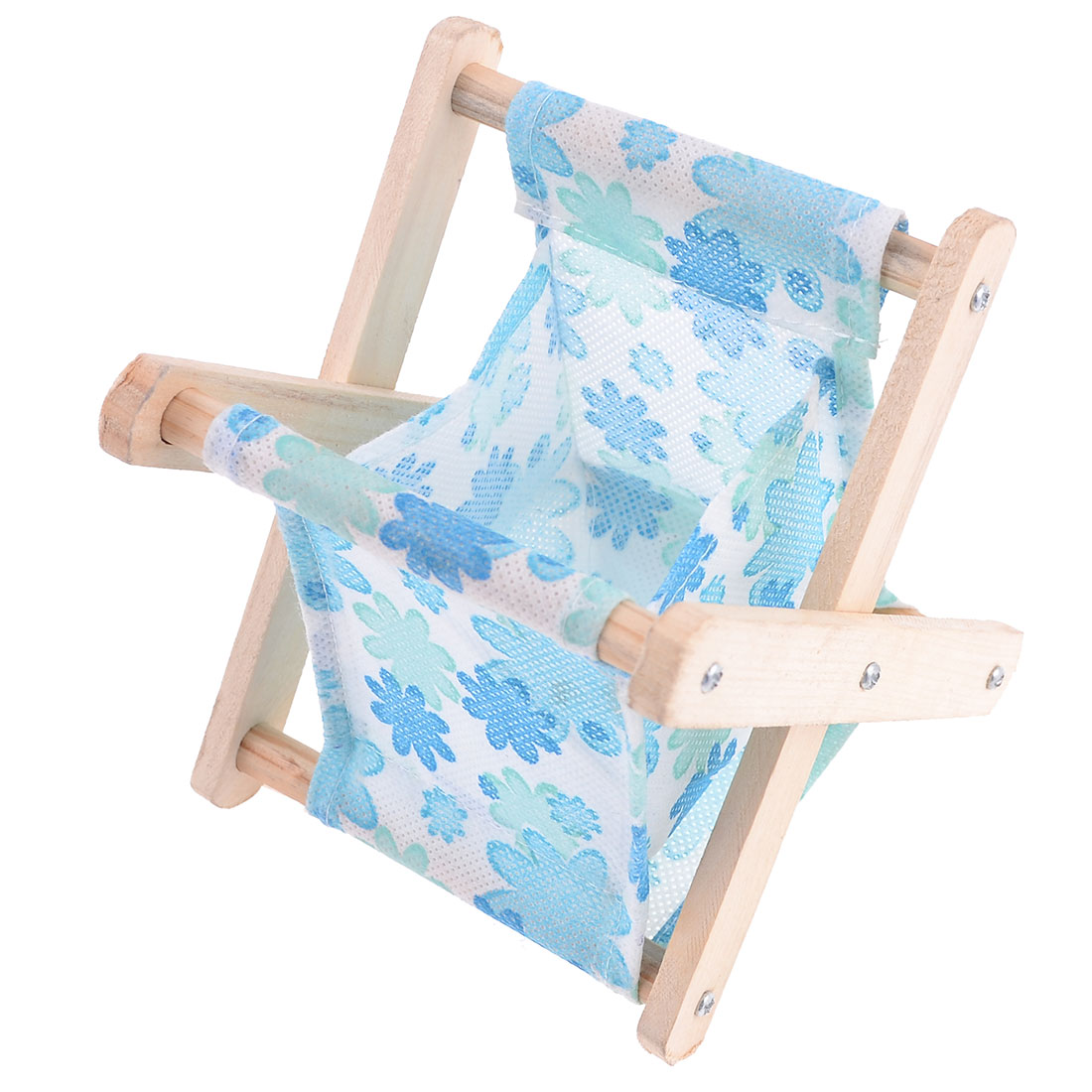 Wood Stand Flower Pattern Mini Folding Storage Bag Basket Hoder Light Blue