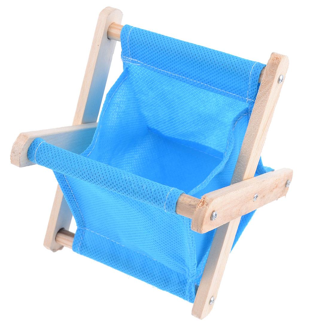 Wood Frame Foldable Tabletop Storage Box Pouch Bag Basket Blue