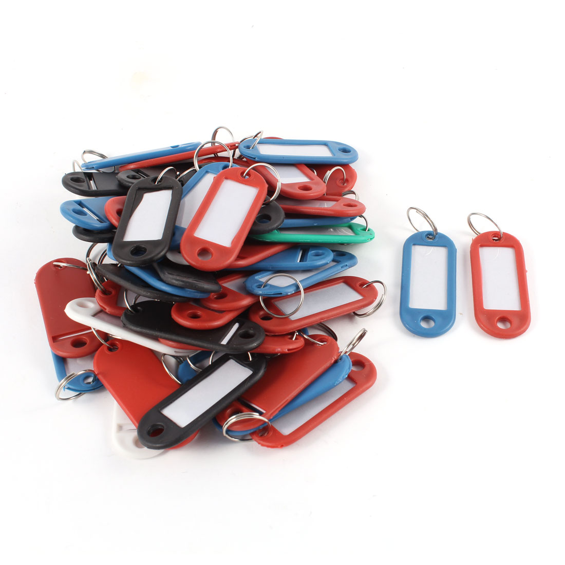 50 in 1 Assorted Color Plastic Key ID Label Name Card Tags Keychains Keyrings