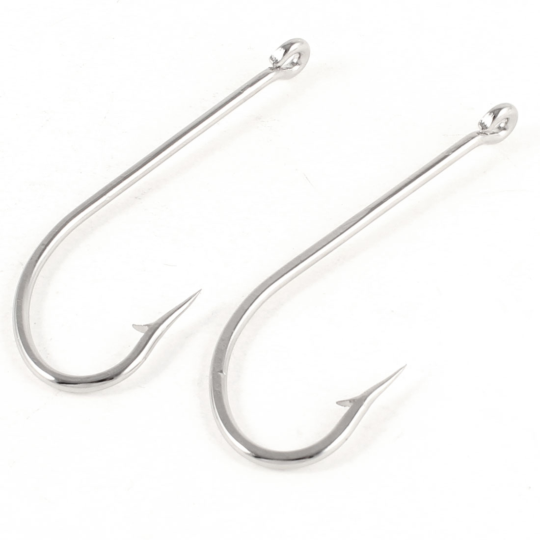 2 Pcs Outdoor Fishing Angle Tackle Silver Tone Eyelet Barb Fish Hooks