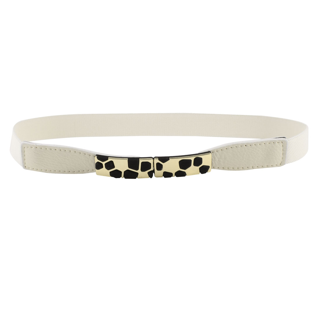 Block Design Metal Interlocking Buckle Stretchy Waist Belt Off White for Ladies