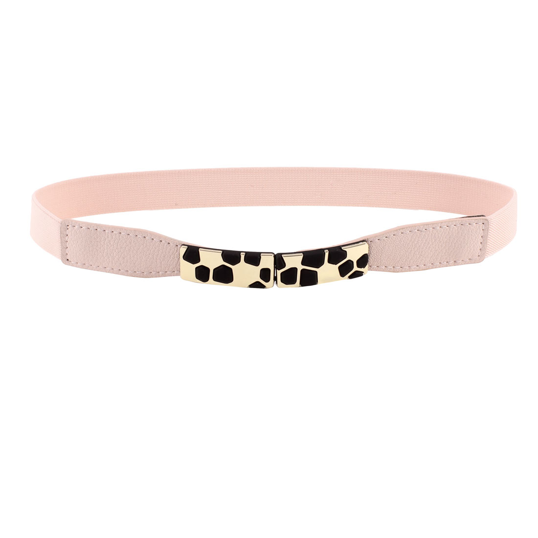 Block Design Metal Interlocking Buckle Stretchy Waist Belt Pink for Ladies