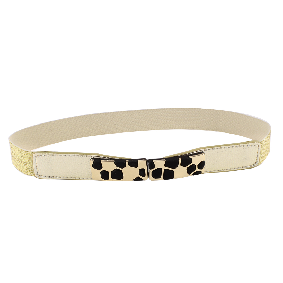 Block Design Metal Interlocking Buckle Stretchy Waist Belt Gold Tone for Ladies