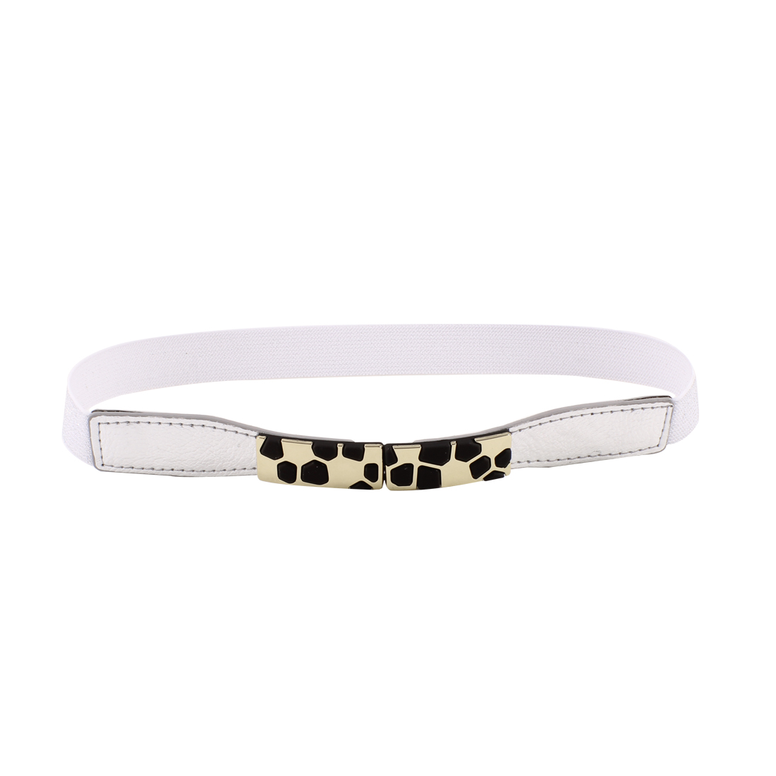 Block Design Metal Interlocking Buckle Elastic Waist Belt Silver Tone for Ladies