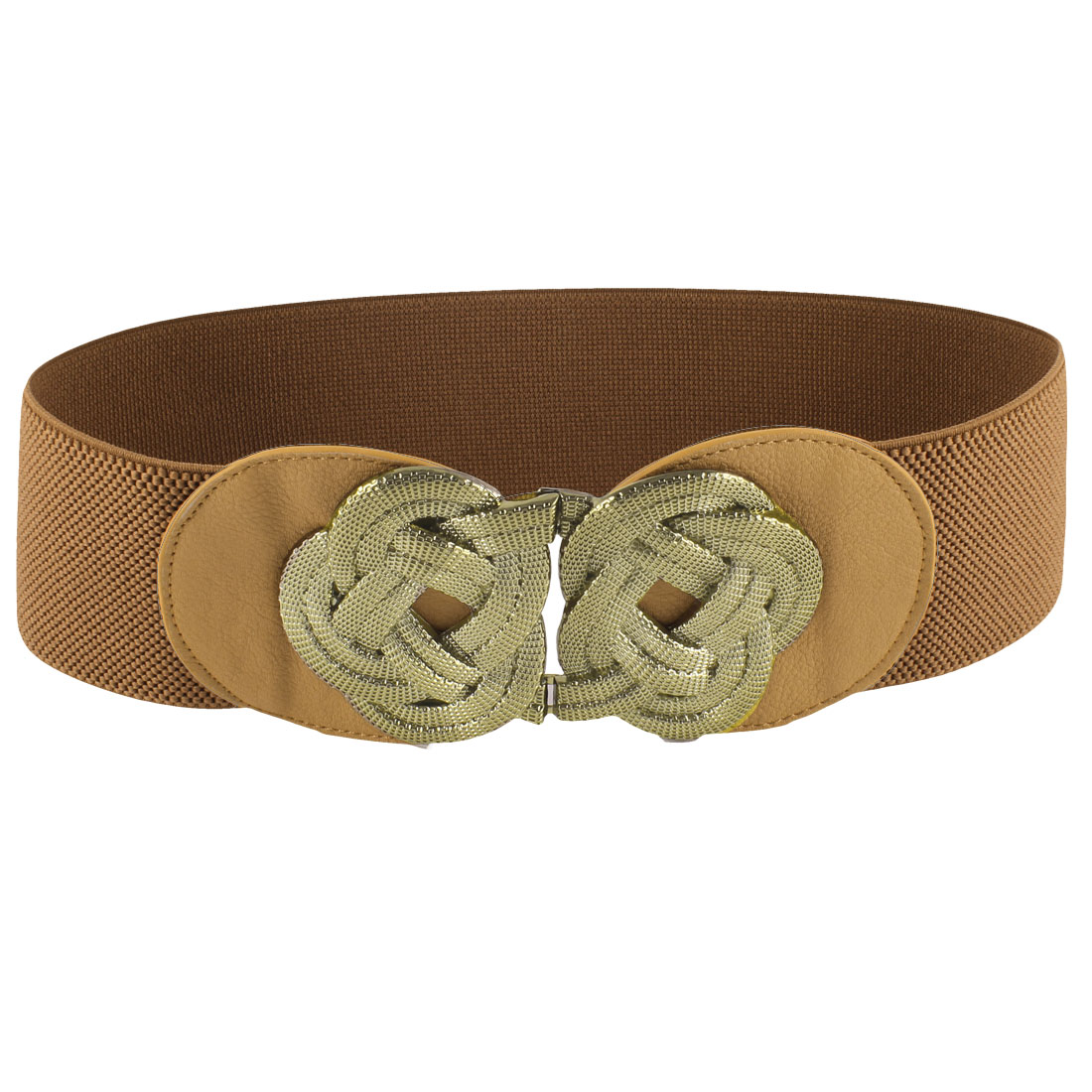 Ladies Gold Tone Metal Flower Knot Hook Buckle Brown Elastic Waist Band Belt