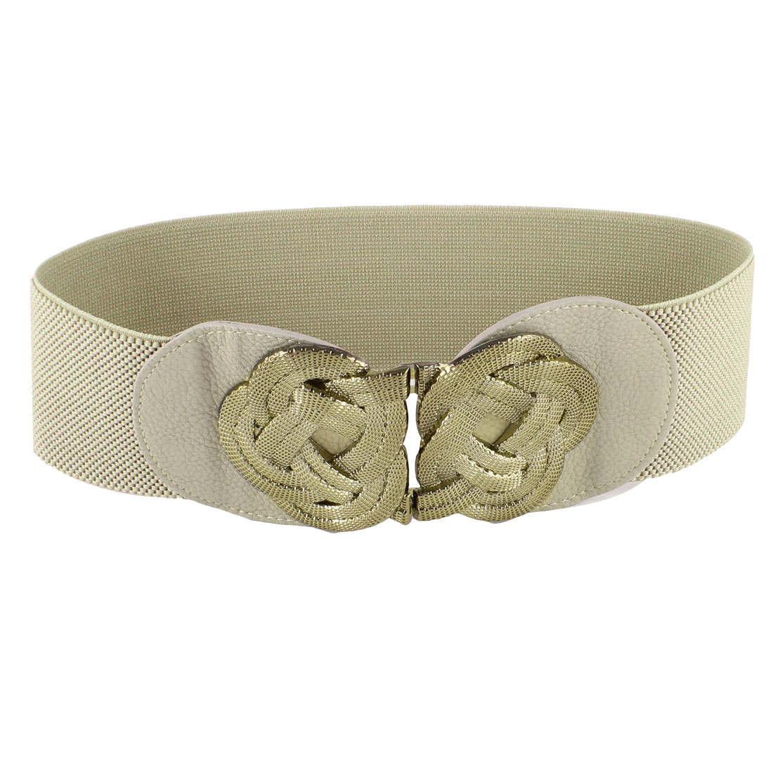 Ladies Gold Tone Metal Flower Knot Hook Buckle Khaki Elastic Waist Band Belt