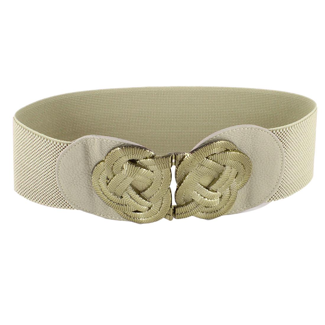 Ladies Gold Tone Metal Flower Knot Hook Buckle Khaki Elastic Waist Band Belt