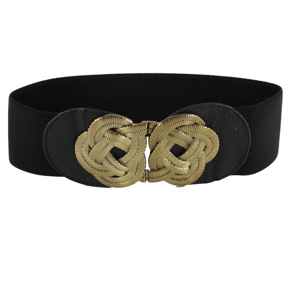 Ladies Gold Tone Metal Flower Knot Hook Buckle Black Elastic Waist Band Belt