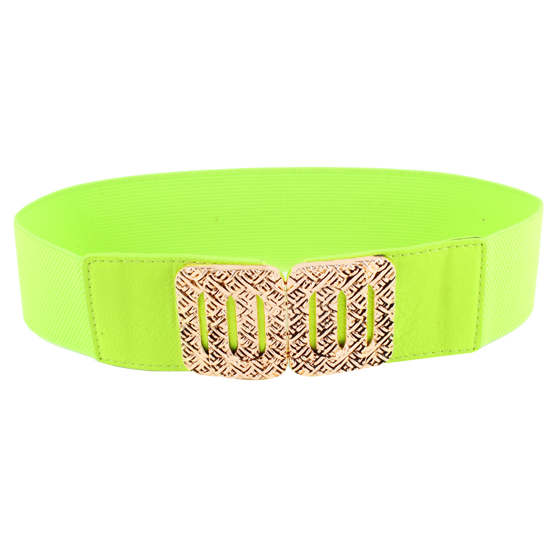 Woman Rectangular Interlock Buckle Faux Leather Elastic Waist Belt Yellowgreen