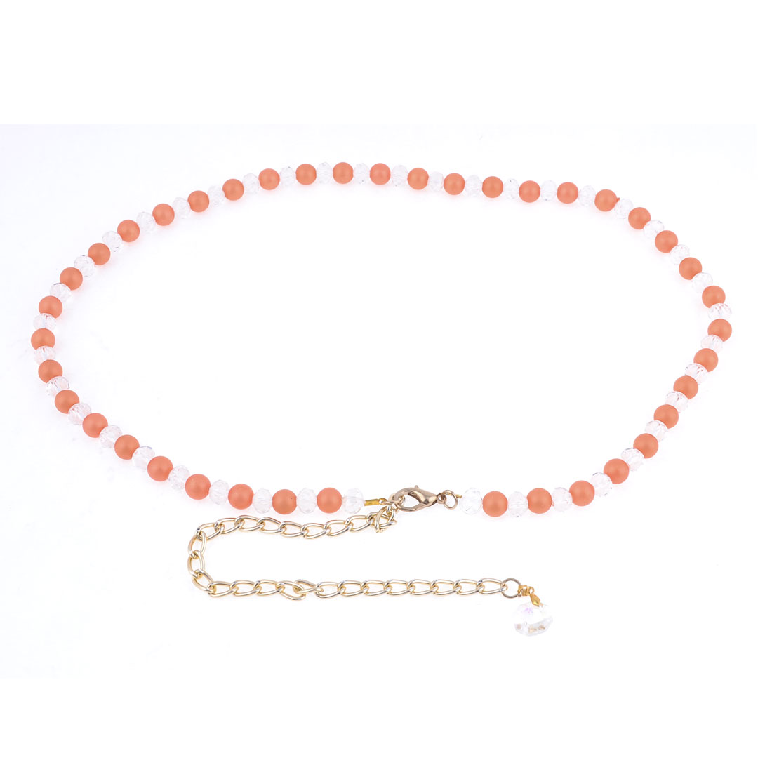 Lobster Clasp Plastic Beads Decoration Adjustable Chain Waist Belt Band Orange