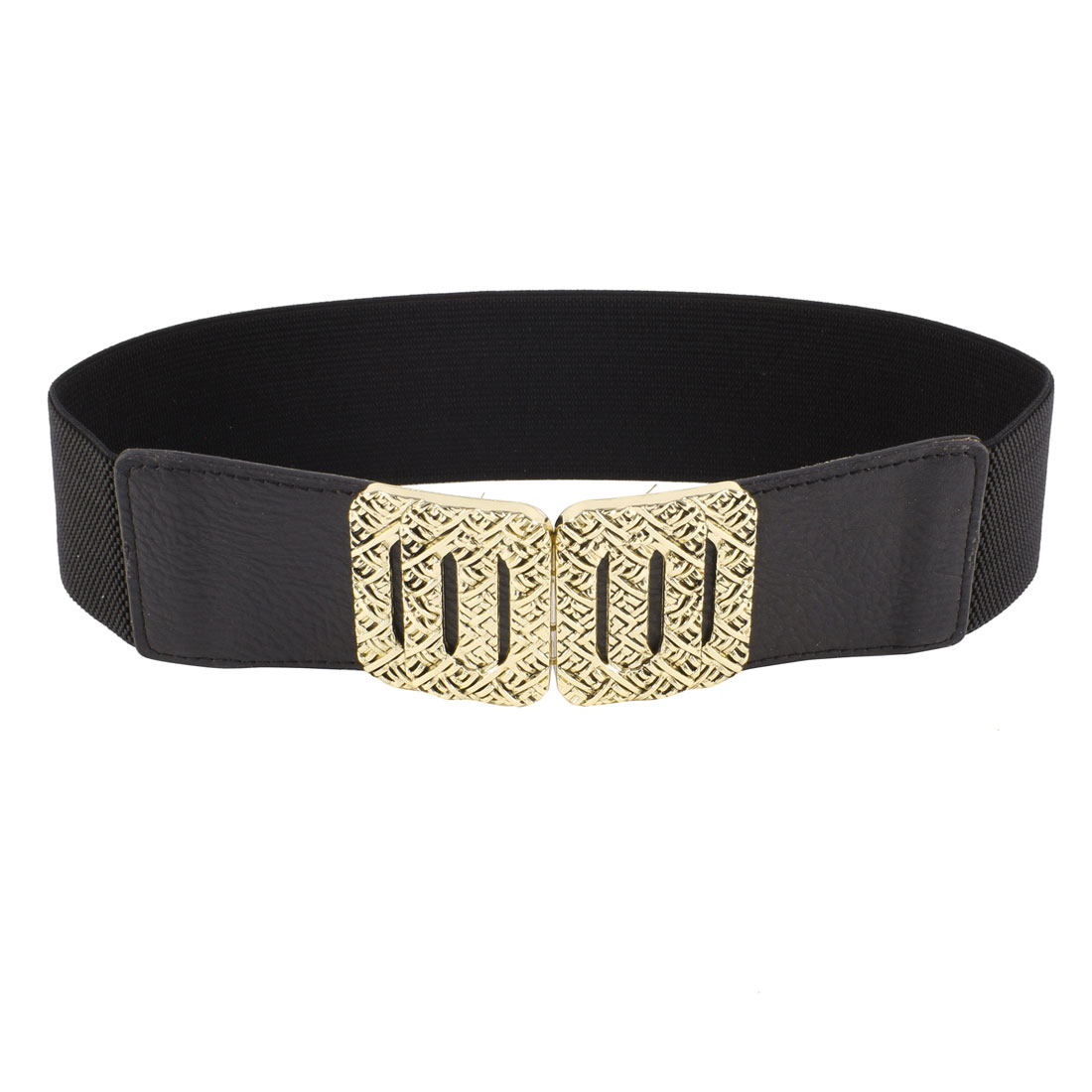 Rectangle Interlock Closure Textured Waistband Cinch Waist Belt Black for Lady
