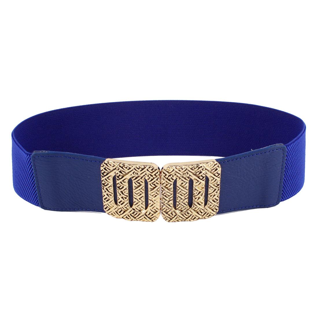 Ladies Rectangle Interlock Closure Textured Waistband Cinch Waist Belt Blue