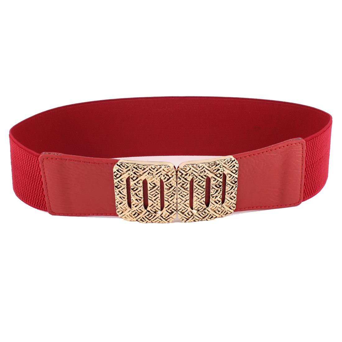 Rectangular Interlocking Closure Cinch Waist Belt Waistband Red for Ladies