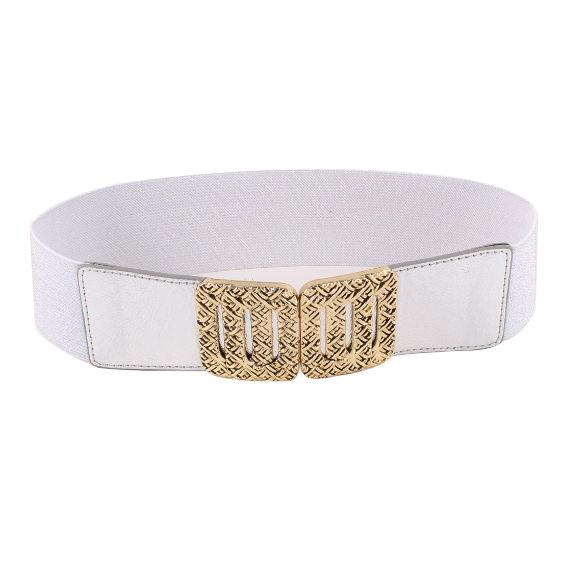 Woman Metal Rectangle Buckle Shiny Tinsel Waistband Cinch Waist Belt Silver Tone