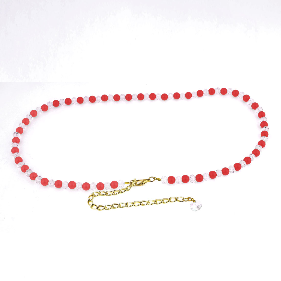 Lobster Clasp Watermelon Red Plastic Bead Decor Adjustable Chain Waist Belt Band