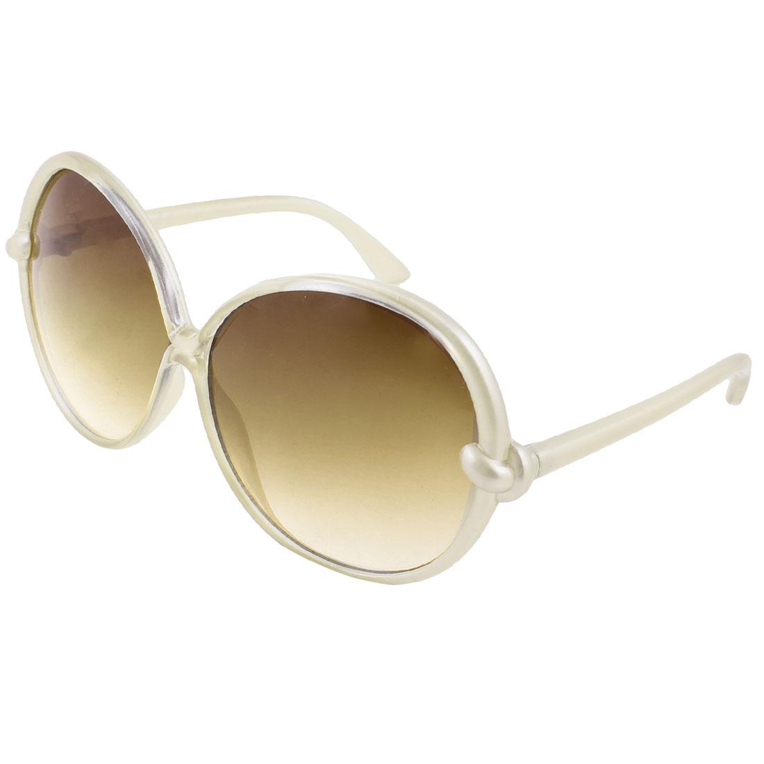 Ladies White Plastic Full Rim Frame Dark Brown Round Lens Slim Arms Sunglasses