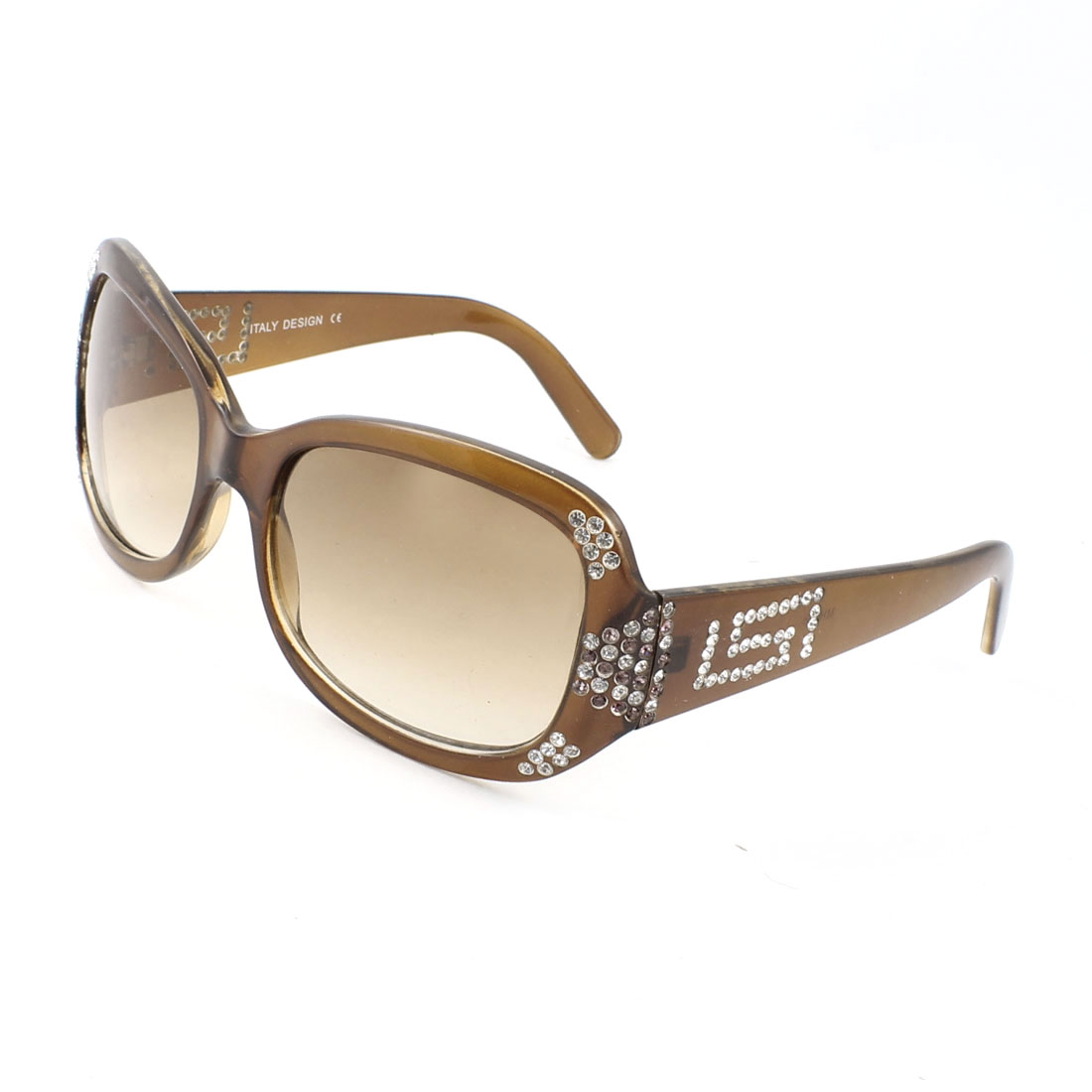 Brown Full Rim Shiny Rhinestones Inlaid Gradient Brown Lens Sunglasses for Woman