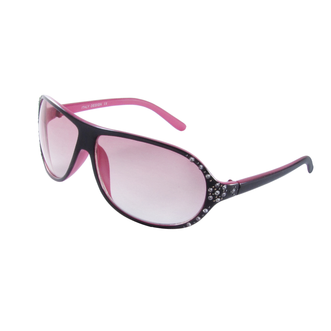 Rhinestones Inlaid Pink Black Plastic Frame Gradient Lens Sunglasses for Women