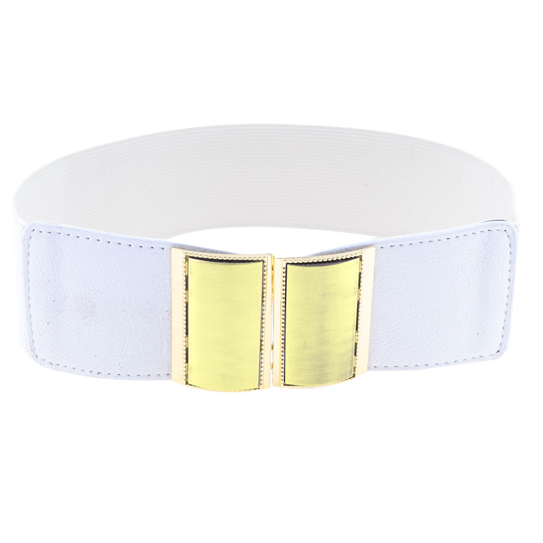 Woman Gold Tone Rectangle Interlocking Buckle Decor Cinch Waist Belt Band White