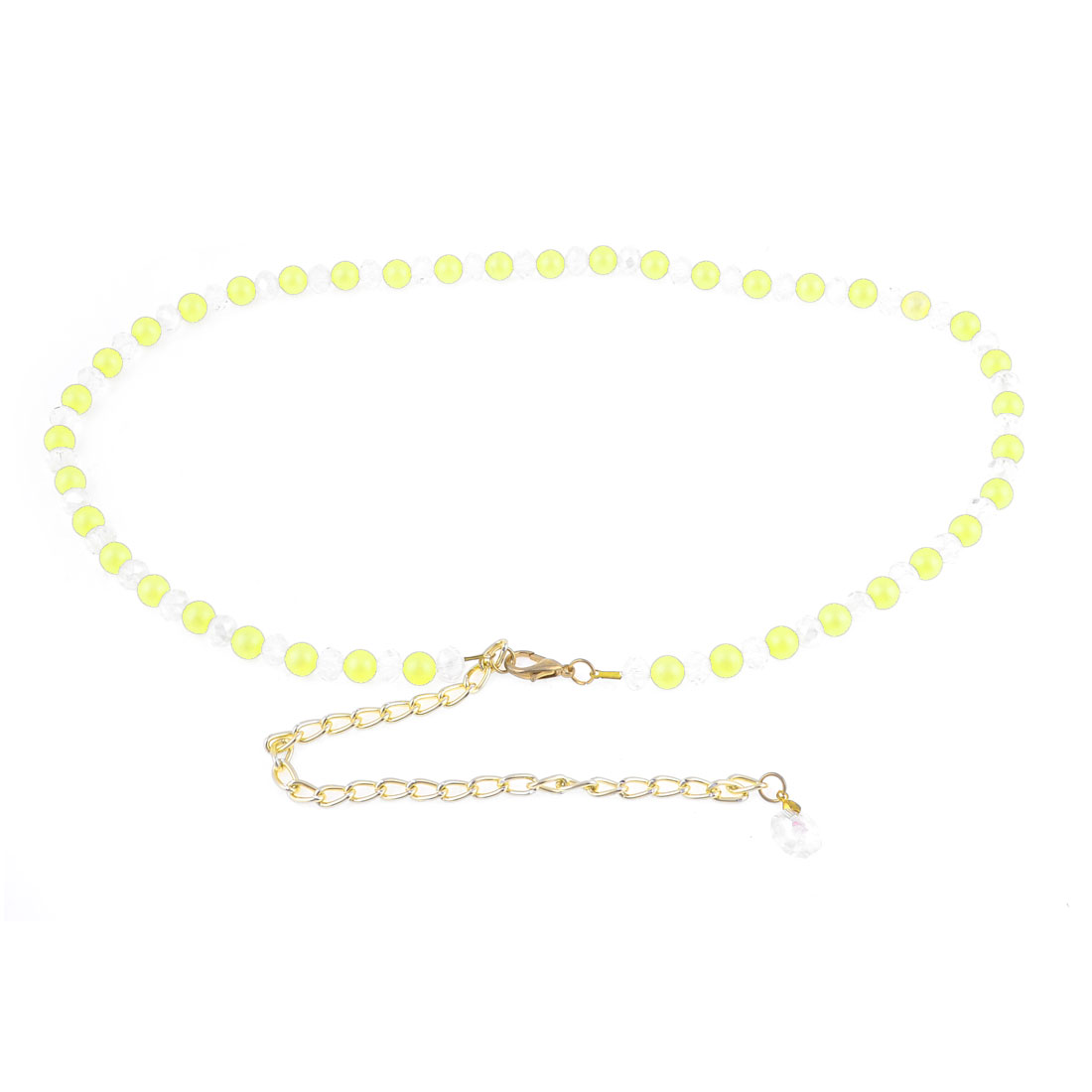 Lobster Clasp Plastic Beads Decoration Adjustable Chain Waist Belt Band Yellow