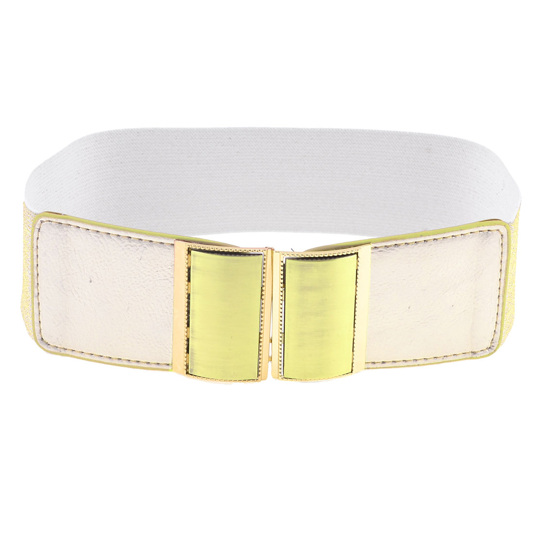 Woman Gold Tone Rectangle Interlocking Buckle Decor Cinch Waist Belt Band