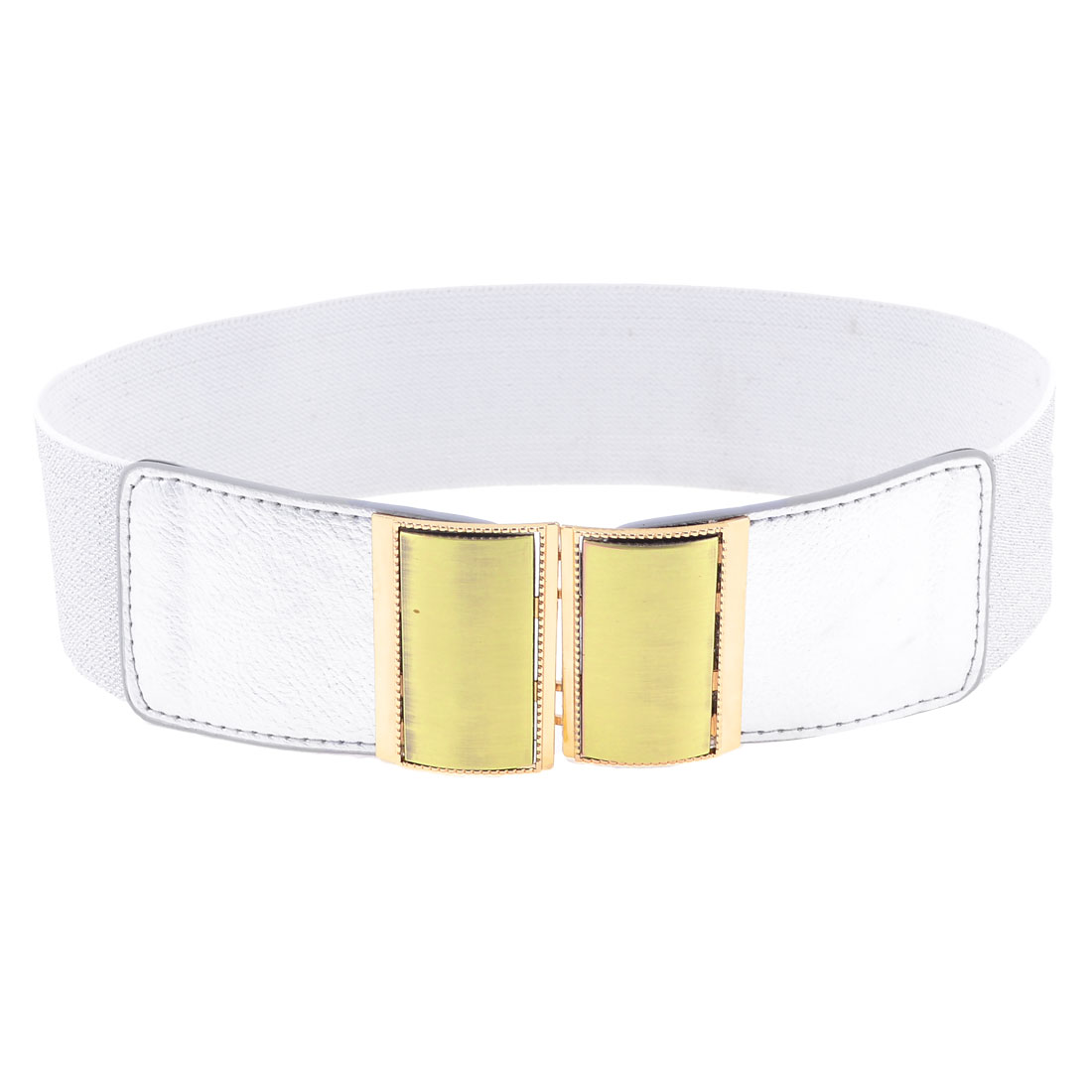 Two Tone Rectangle Interlocking Buckle Cinch Waist Belt Band