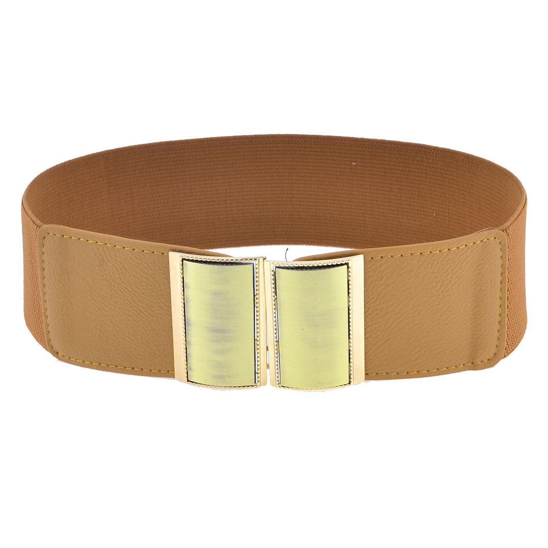 Woman Gold Tone Rectangle Interlocking Buckle Decor Cinch Waist Belt Band Brown