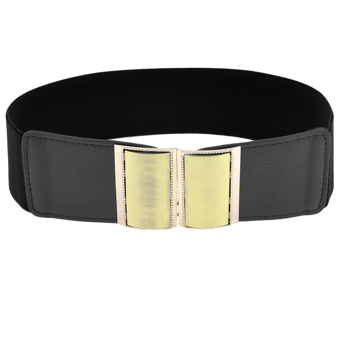 Woman Gold Tone Rectangle Interlocking Buckle Decor Cinch Waist Belt Band Black