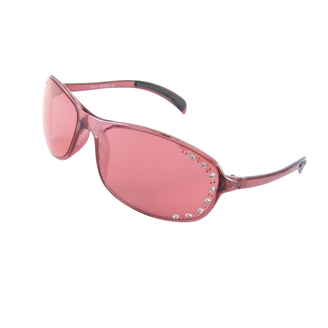 Clear Red Full Frame Single Bridge Slim Arm Casual Sunglesses for Ladies