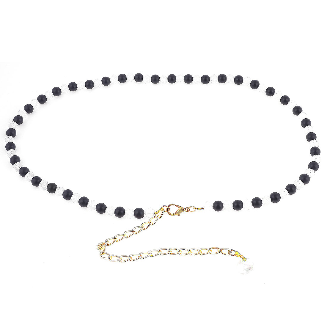 Women Lobster Clasp Plastic Beads Decor Adjustable Chain Waist Belt Band Black