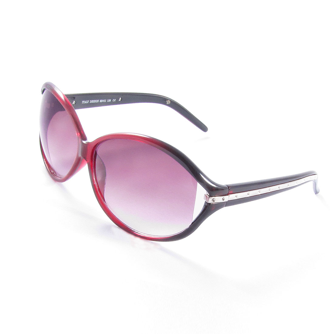 Women Burgundy Full Rim Ellipse Shaped Gradient Color Lens Leisure Sunglasses